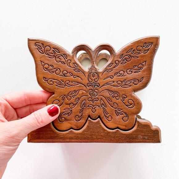 Vintage Farmhouse Wooden Butterfly Napkin Holder